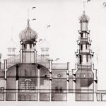 Церковь Александра Невского: конкурс 1992г. - Разрез продольный