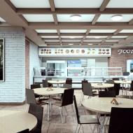 Интерьер обеденного зала Фуд-центра