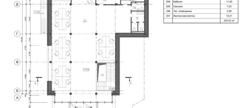 План 2-го этажа с расстановкой мебели М1_100